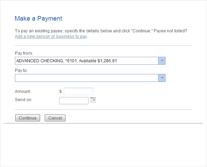 Make a payment old user experience - Popular Online Banking