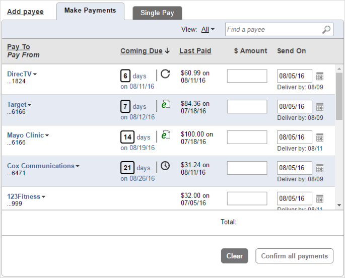 Make a payment new user experience  - Popular Online Banking